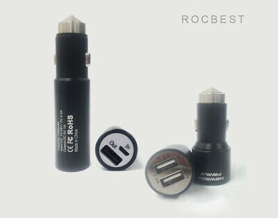 Car Charger Adaptor 2.4A Stainless Steel Dual USB 2 Port for iPhone Samsung HTC