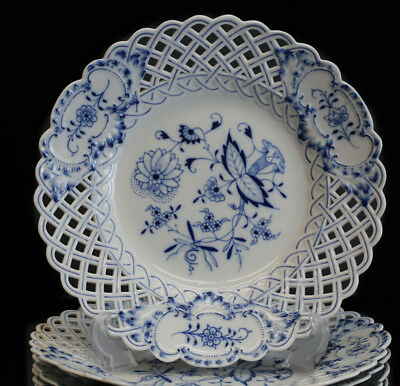 12pc Meissen Reticulated Large Dinner Plate / Charger, Blue Onion. 11 1/2""