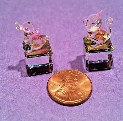 Miniature Cat & Duck Chrystal Cube Figurines Extra Small