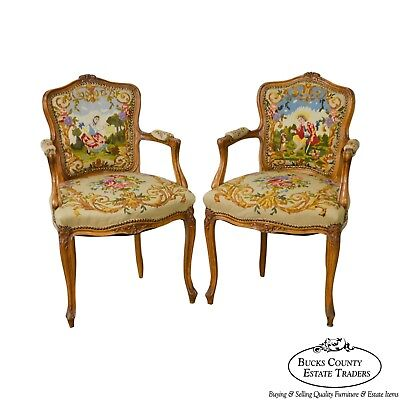 French Louis XV Style Custom Pair of Needlepoint Arm Chairs