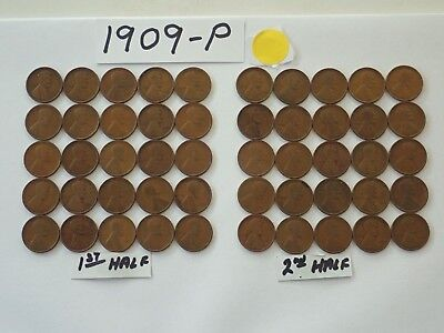 1909-P Solid Date Pennies=Roll 50 Lincoln Wheat Cents