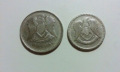 Syria 2 different coins set 25 + 50 Piastres (Qirsh) 1968 – 1974 (Eagle)