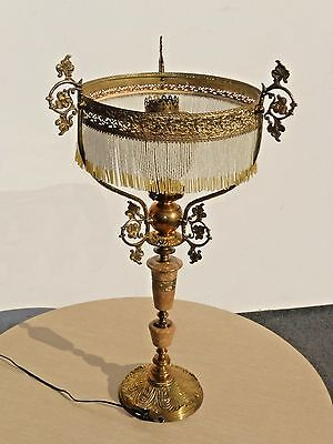 Vintage Ornate French Provincial TABLE LAMP Light Beaded Lamp Shade