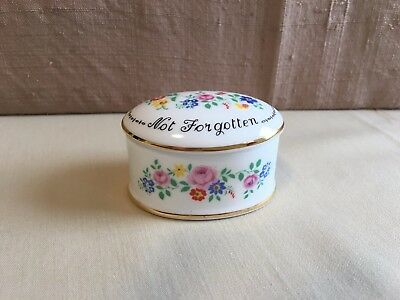 Crown Staffordshire Trinket Box Absent Friends Not Forgotten England