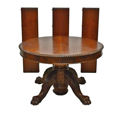 Antique Victorian 1800's Mahogany Empire Style Split Base Round Dining Table