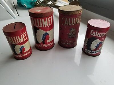Vintage Calumet Double-Acting Baking Powder Tin Can Chief Logo lot of 4