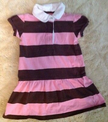 Baby Girl Baby Gap Brown And Pink Striped Polo Dress Size 12-18 Months