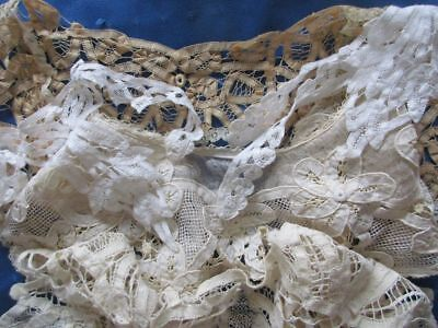 Antique Lot Of Hand Made Tape Lace Collars~Lace Edge~Dress Trims~Tulle~Rings