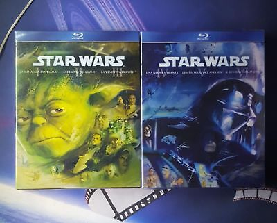 STAR WARS* PREQUEL TRILOGY 1,2,3 *ORIGINAL TRILOGY 4,5,6 *blu ray*nuovo