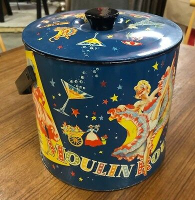 Vintage Moulin Rouge Ice Bucket Lithographed Mid Century Can Can Dancer