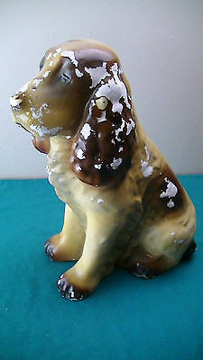"Vintage Dog Chalk Figurine Cast Tan Brown Cocker Spaniel 11"" Tall 6.5Lbs"