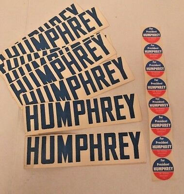 Lot of 21 Hubert Humphrey Original Vintage Bumper & Round Stickers 1964