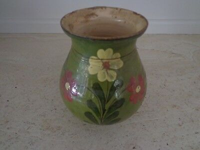 Antique 19Th Century Decorated Redware Terra Cotta French Alsace Pottery