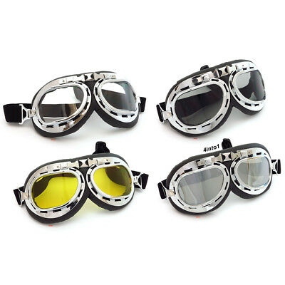 Vintage Aviator Motorcycle Goggles - Cafe Racer WWII Red Baron CHOOSE COLOR LENS