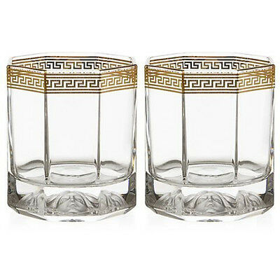 Rosenthal Meets Versace Medusa Lumiere D'or Crystal Whisky Pair Rrp$349
