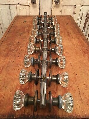 Rare Lot Of 9 Antique Vintage Crystal / Glass Door Knob Sets With Hardware
