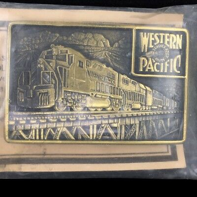 Vtg NOS Western Pacific Railroad Feather River Route Train Brass Belt Buckle