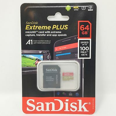 SanDisk 64GB Extreme PLUS UHS-I microSDXC Memory Card with SD Adapter