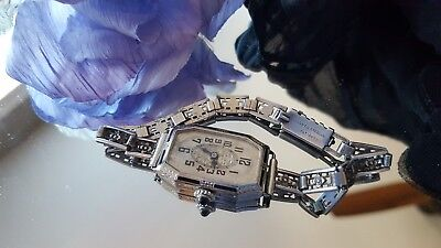 Antique Vintage Art Deco Gruen black enamel Ladies Watch~sterling band - RUNS