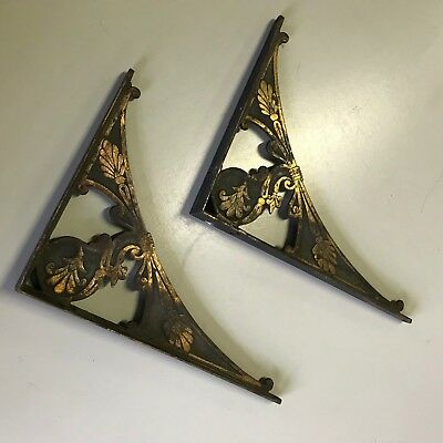 Antique Victorian EASTLAKE Cast Iron SHELF BRACKETS, Ornate Aesthetic Brass