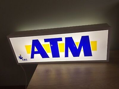 Light Up ATM Sign Man Cave Shed Collectable Retro Shop Equipment