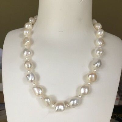 Huge freshwater 15-19mm Natural white Baroque pearl necklace AA luster 45cm