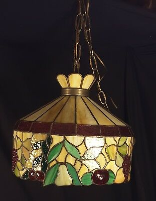 Vintage Tiffany Style Stained Glass Pears Grapes Cherry Hanging Ceiling Lamp