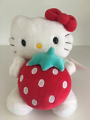 "Htf 2005 Hello Kitty 7"" Plush With Strawberry - Tags Attached"