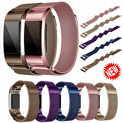 Magnetic Milanese Loop Stainless Steel Strap Wristwatch Band For Fitbit Charge 2