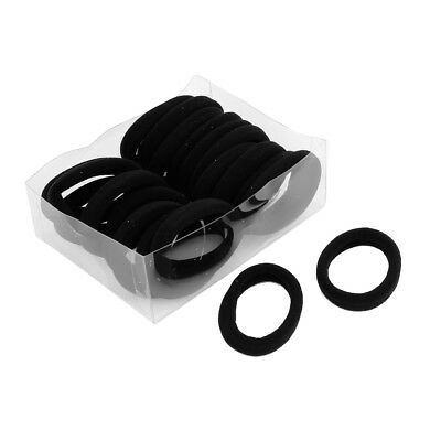 Lady Girls Black Nylon Wrapped Stretchy Rubber Hair Ties Bands 20PCS A3A3