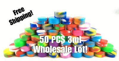 50x 3ml Silicone Jar Containers Nonstick Storage Jars Mixed Colors Wholesale Lot
