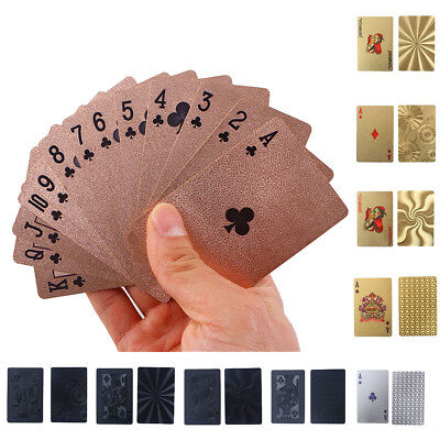 Waterproof Plastic Playing Cards Collection Gold Black Diamond Poker Cards