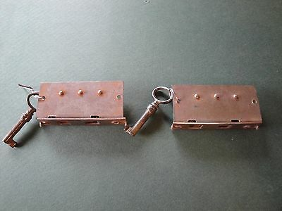 Set Of 2 Matching Vintage  Locks & Keys  For Furniture, Desk, Cabinet, Drawers