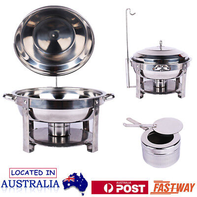 Round Stainless Steel Chafing Dish Bain Marie Bow Buffet Food Warmer Heater OZ