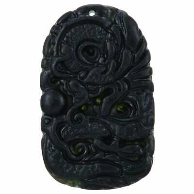 Chinese Natural Black Green Jade Pendant Dragon Good Lucky Amulet Gift Dark Jade