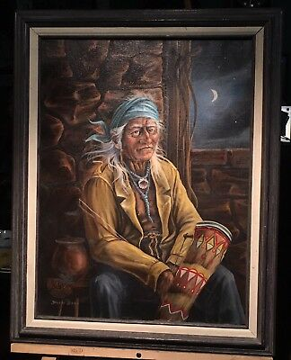 Dick Bass Vintage Original Oil On Canvas Painting Native American