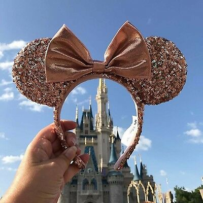 Authentic Disneyland Rose Gold Minnie Mouse Ears Sequins FREE SAME NEXT DAY SHIP