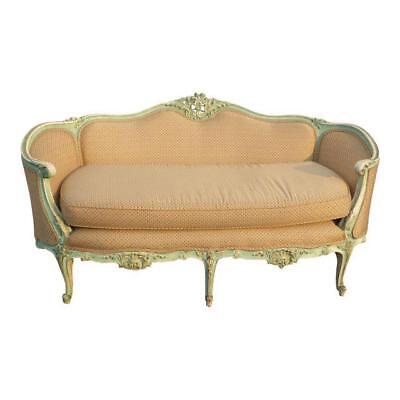 Antique French Provincial Louis XV Rococo Style Ornately Carved Settee Sofa