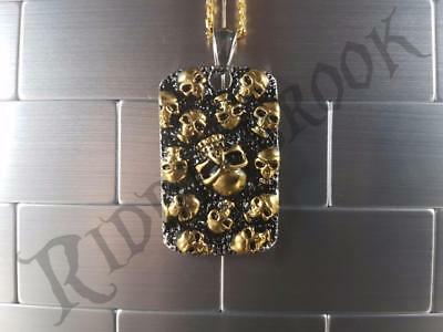 Gold Skull wall Pendant 316L Stainless Steel Solid Biker dog tag
