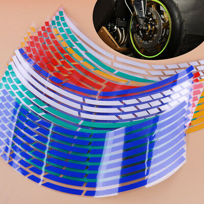 "16 Strips Reflective Motorcycle Car 17""-19"" Rim Stripe Wheel Tape Decal Stickers"