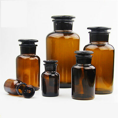125ML Wide Mouth Amber Glass Reagent Bottle Ground Stopper Lab Glassware Jars OZ
