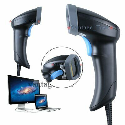 Barcode Scanner Handheld Laser Bar Code Reader Long Range Scan Gun For POS USB