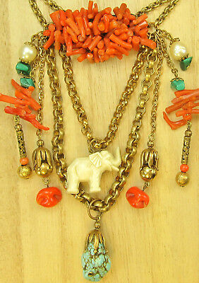 vtg Antique Coral Art Deco Brass Chain Necklace Elephant Dangle Haskell Style