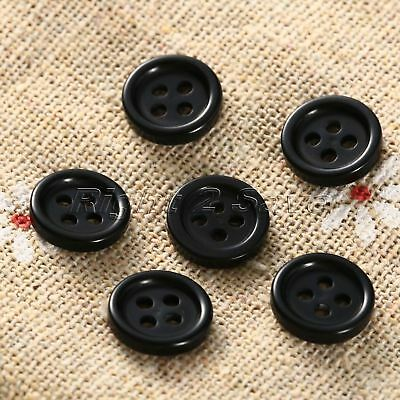 100Pcs Black Resin 10mm Dia 4 Holes Round Buttons Sewing Scrapbooking DIY Crafts