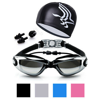 Swim Goggles & Swimming PU Hat & Ear Plug & Nose Clip Suit Anti-fog UV Glasses