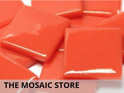 Orange Red Gloss Glass Tiles 2.5cm | Mosaic Tiles Supplies Art Craft