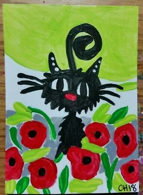 ACEO HANGING WITH THE POPPIES  OUTSIDER  ACRYLIC 2000-now