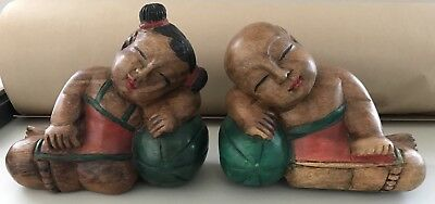 Vintage Pair of Sleepy Baby on Melon Wooden Book End Decorative Art Home Decor