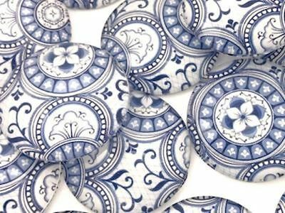 Large Mixed Blue and White Handmade Round Tiles (6 Pack) - Mosaic Tiles Supplies