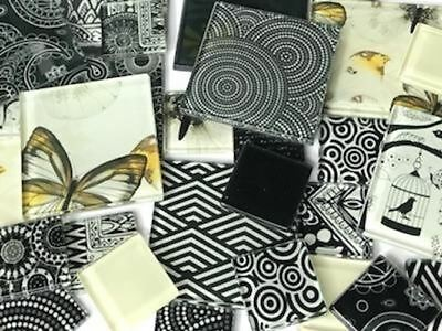 Black & White Themed Handmade Tile Set - Mosaic Art Craft Tiles Supplies